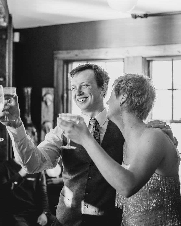 Wedding toast with bride and groom | Boston wedding photographer